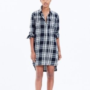 Madewell Courier shirt dress black white plaid XXS